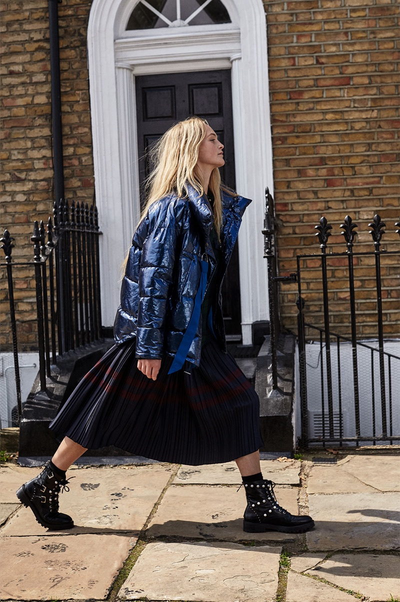 Jean Campbell models Short Quilted Jacket with Shimmer, Skirt with Contrasting Stripes and Leather Ankle Boots with Faux Pearls