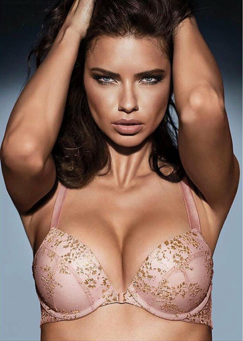 Angel Adriana Lima stuns in a pink push-up bra for Victoria's Secret Obsessed campaign