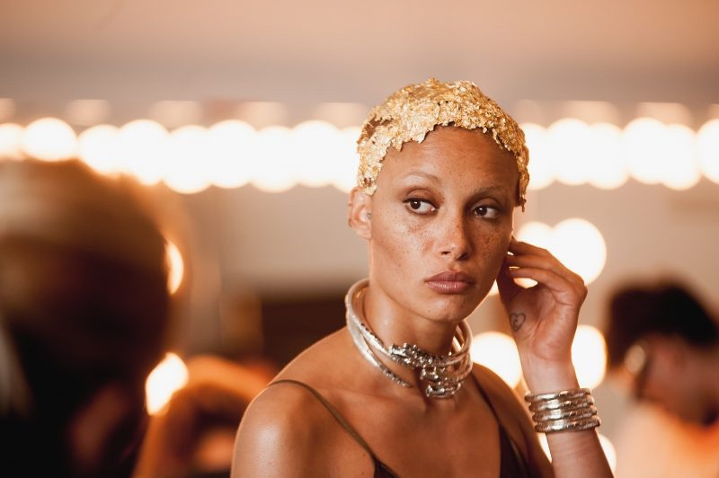 Model Adwoa Aboah wears gold foil behind-the-scenes at John Hardy shoot