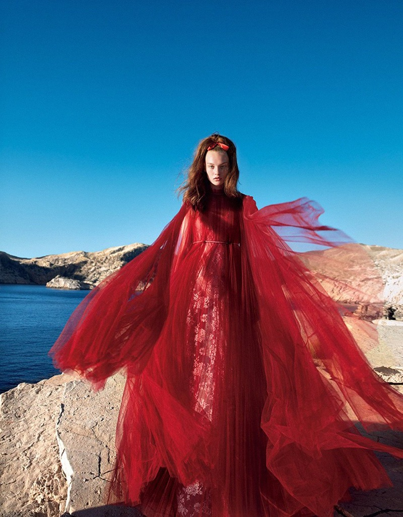 Agnes Akerlund Poses in All-Red Looks for Vogue Japan