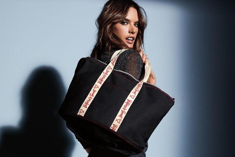 Angel Alessandra Ambrosio poses with Victoria's Secret tote bag