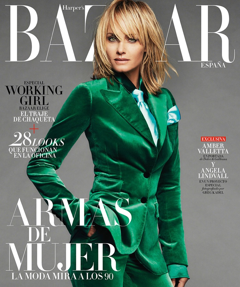 Amber Valletta Suits Up in Fall Style for Harper's Bazaar Spain