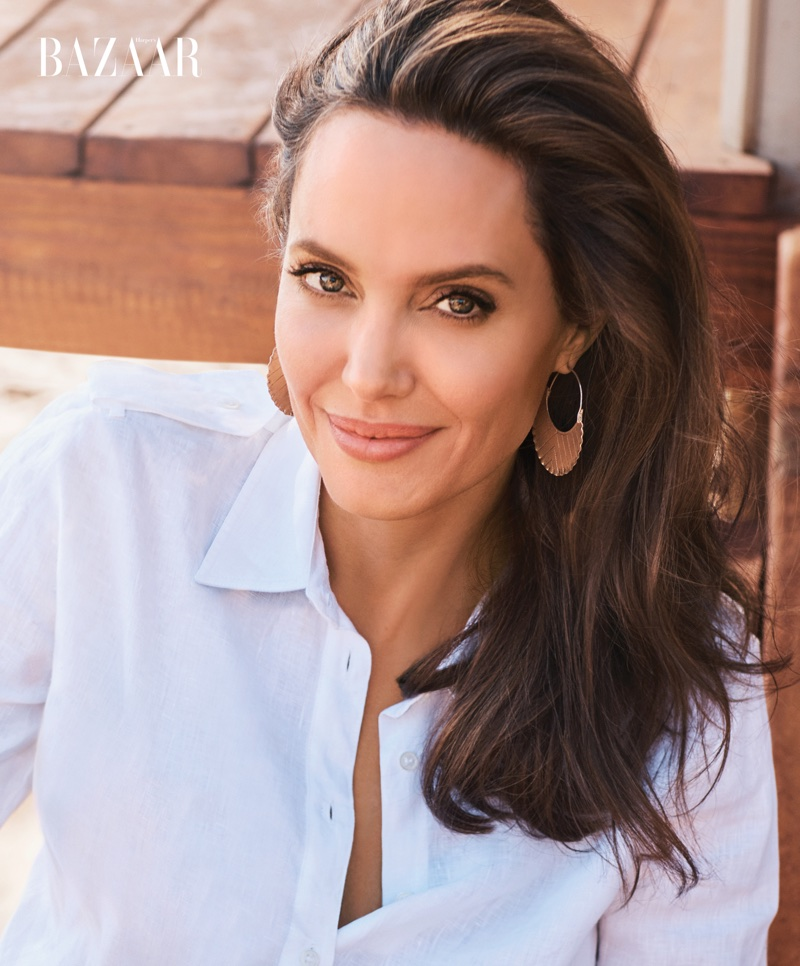 Actress Angelina Jolie wears Gabriela Hearst blouse