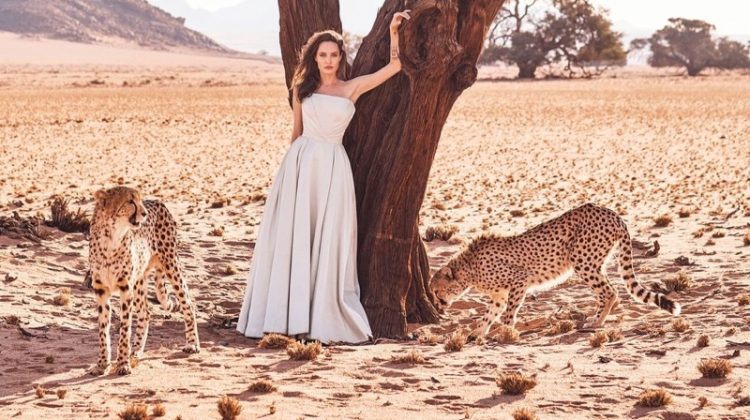 Posing with cheetahs, Angelina Jolie wears Atelier Versace gown