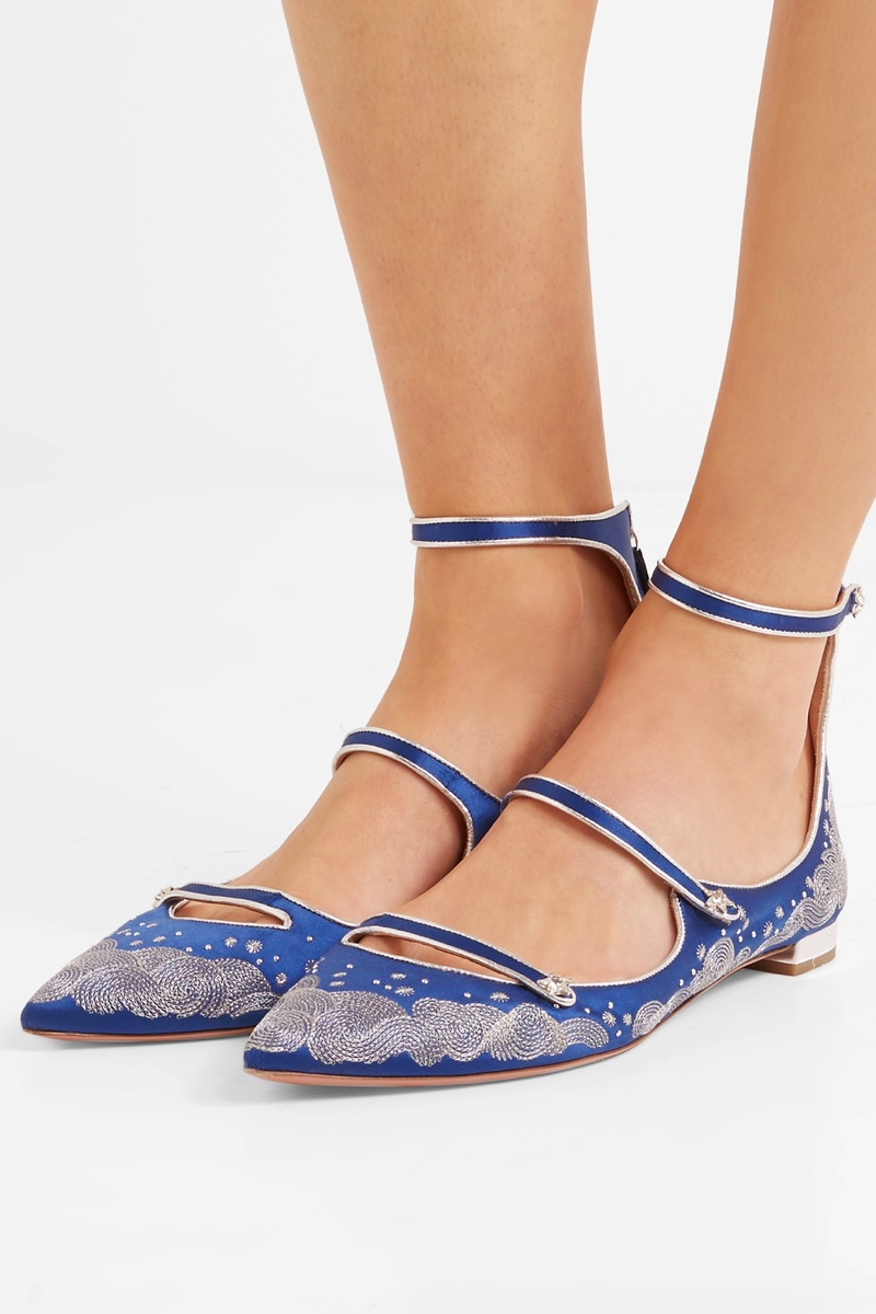 Aquazzura x Claudia Schiffer Cloudy Star Embroidered Satin Point-Toe Flats $850