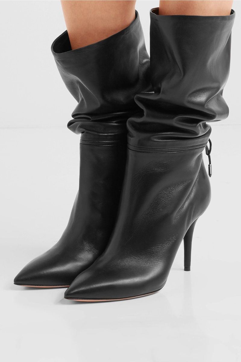 Aquazzura x Claudia Schiffer Le Marais Leather Boots $995