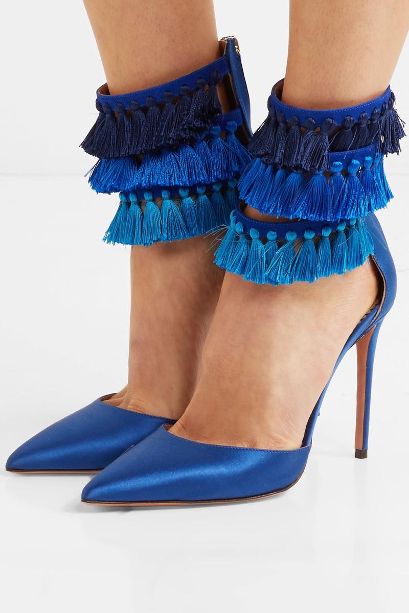 Aquazzura x Claudia Schiffer Loulou's Tasseled Satin Pumps in Blue $850