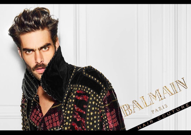 Jon Kortajarena poses in Balmain Hair Couture Icons campaign