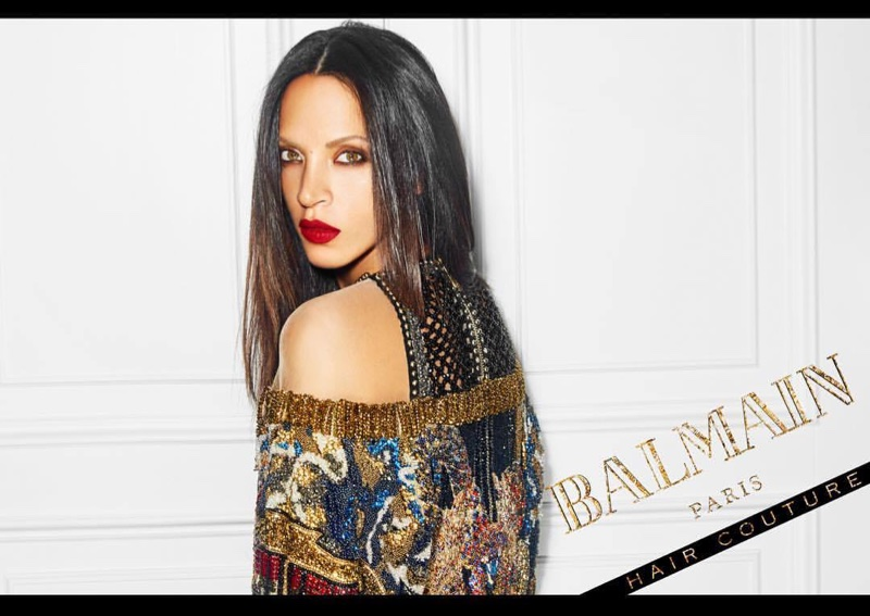 Noemie Lenoir wears straight hairstyle in Balmain Hair Couture Icons campaign