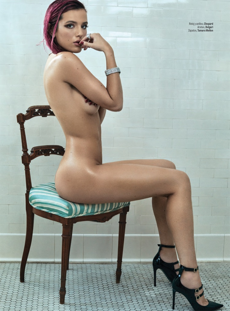 Bella Thorne poses naked in Tamara Mellon heels