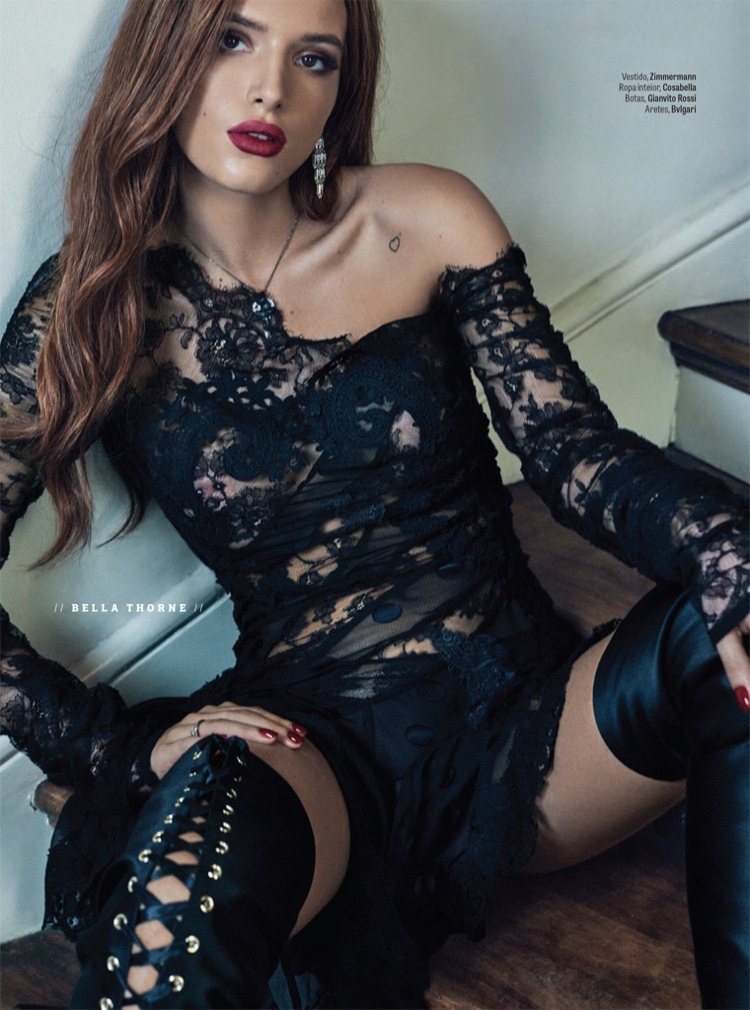 Flaunting some skin, Bella Thorne wears Zimmermann dress and Gianvito Rossi boots