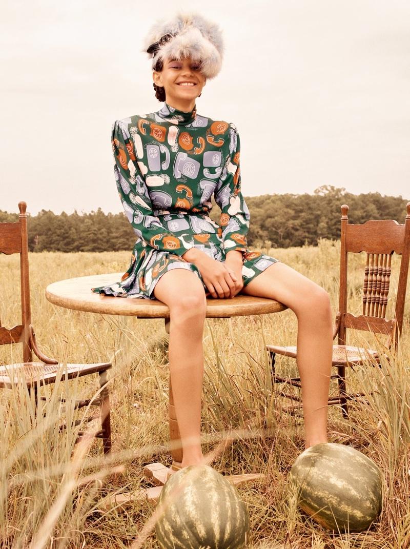 Binx Walton Poses Outdoors in Miu Miu Fashions for W Korea