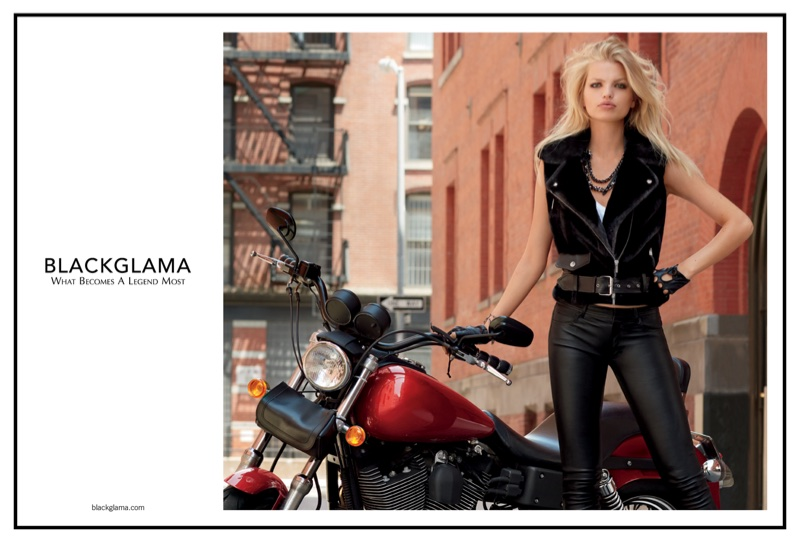 Daphne Groeneveld poses with motor bike in Blackglama's fall-winter 2017 campaign