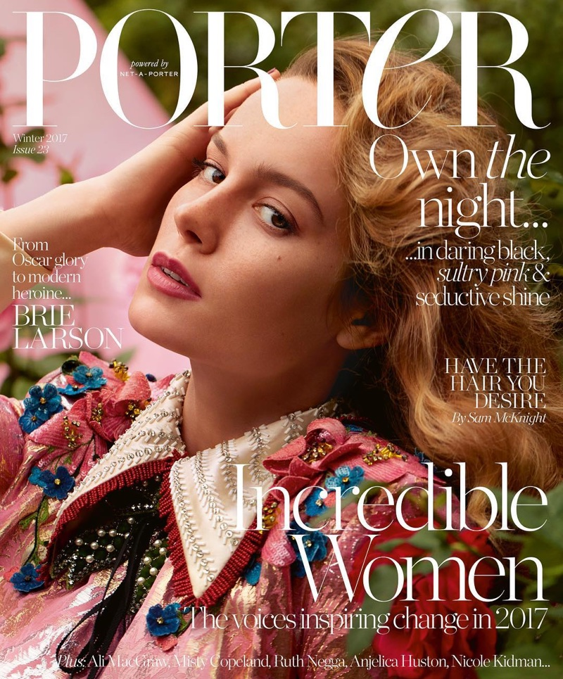Actress Brie Larson wears Gucci dress on PORTER Magazine Winter 2017 cover