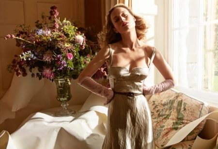 Striking a pose, Brie Larson poses in Bottega Veneta dress