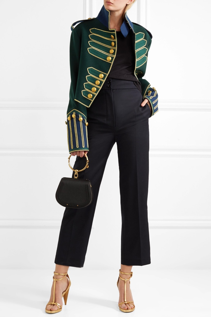 Burberry Cropped Embellished Wool Jacket $4,195