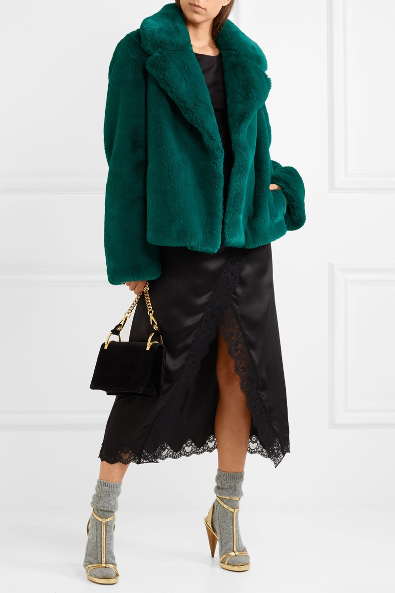 Burberry Green Faux Fur Coat $1,795