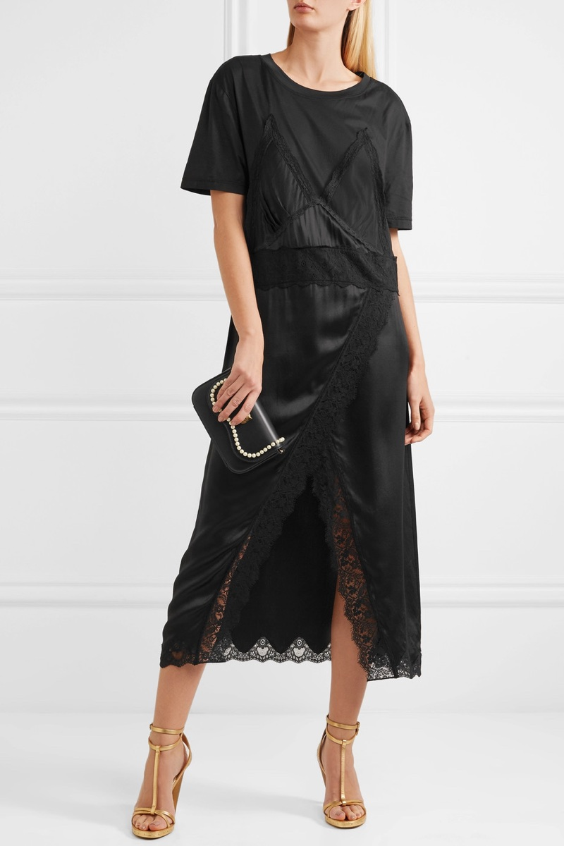 Burberry Lace-Trimmed Silk-Satin and Cotton Jersey Midi Dress $1,095