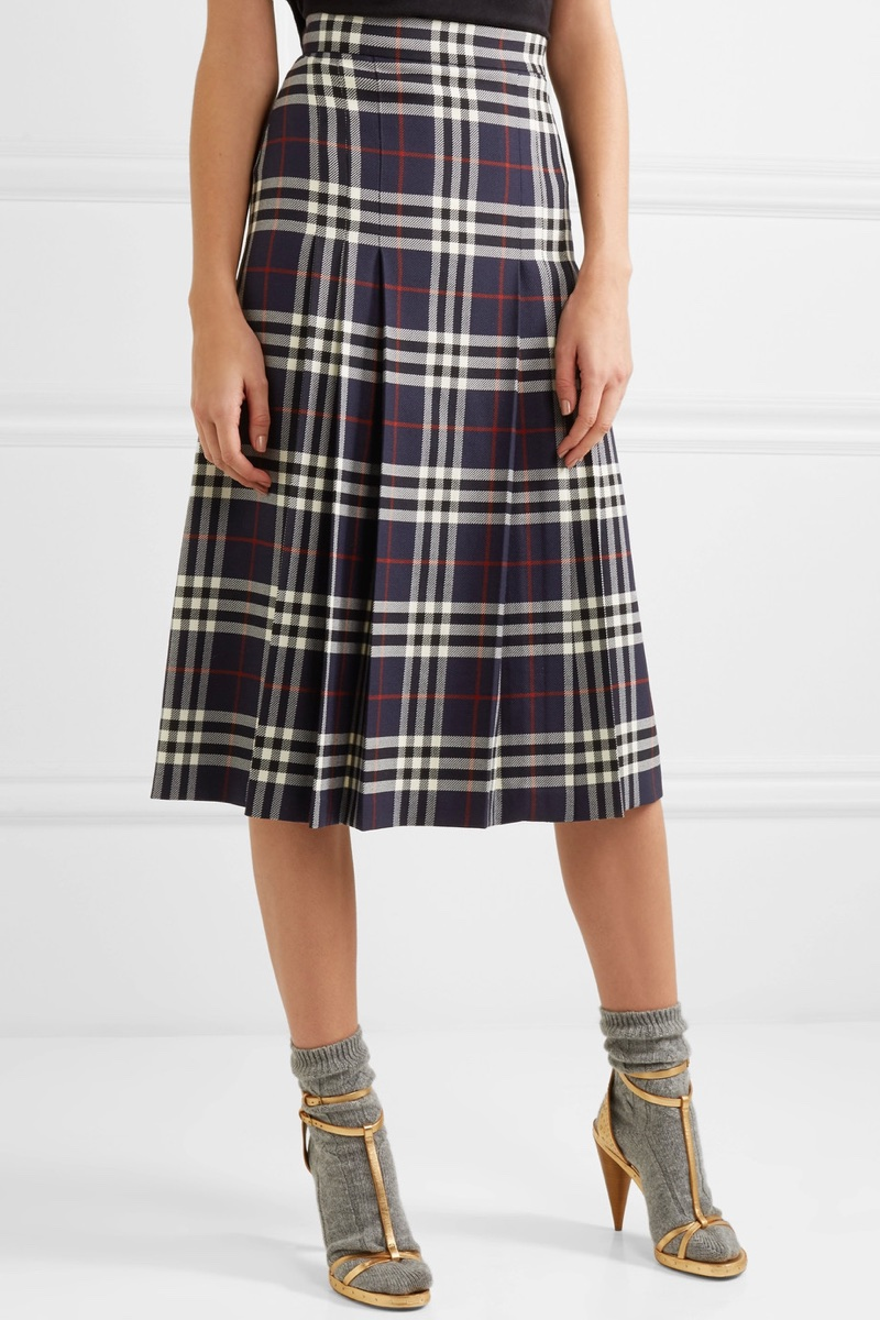 Burberry Pleated Checked Wool Midi Skirt $995