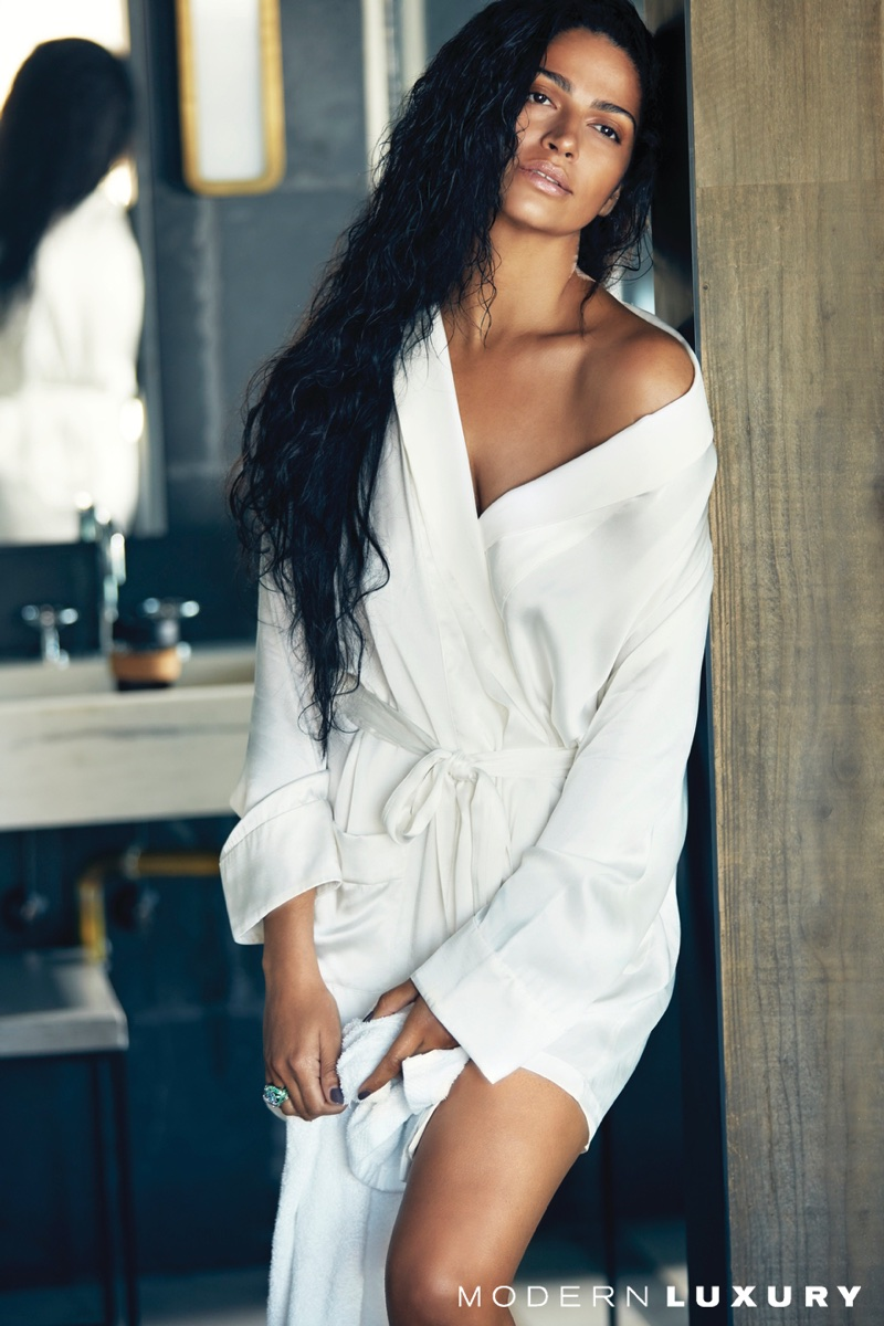 Posing in an Araks robe, Camila Alves is a natural beauty