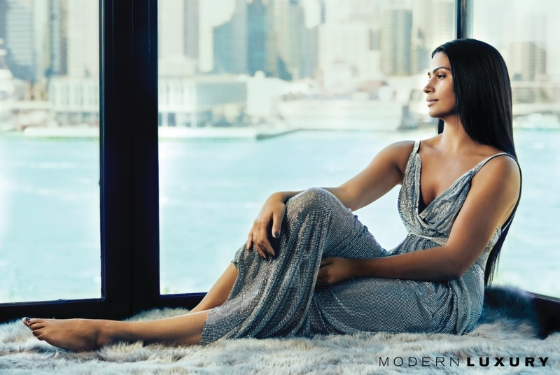 Shining in crystals, Camila Alves poses in Dolce & Gabbana gown