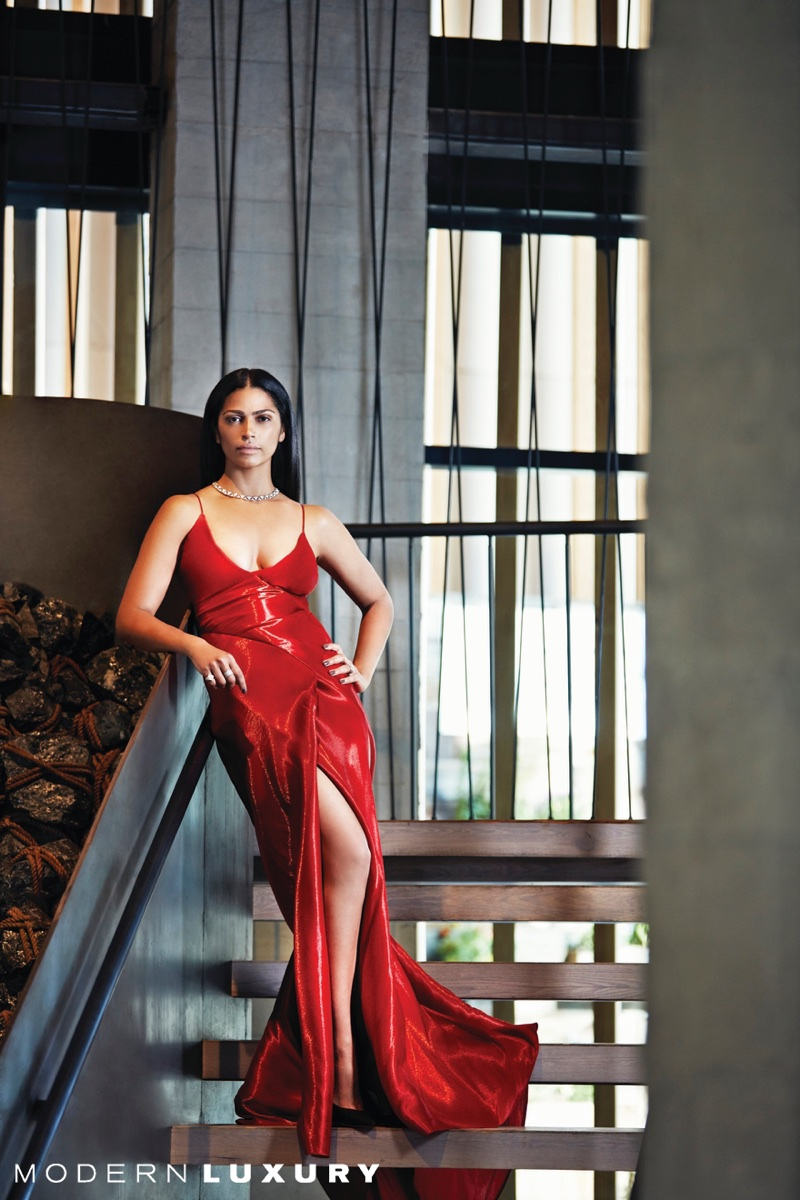 Looking red-hot, Camila Alves poses in Ralph Lauren dress