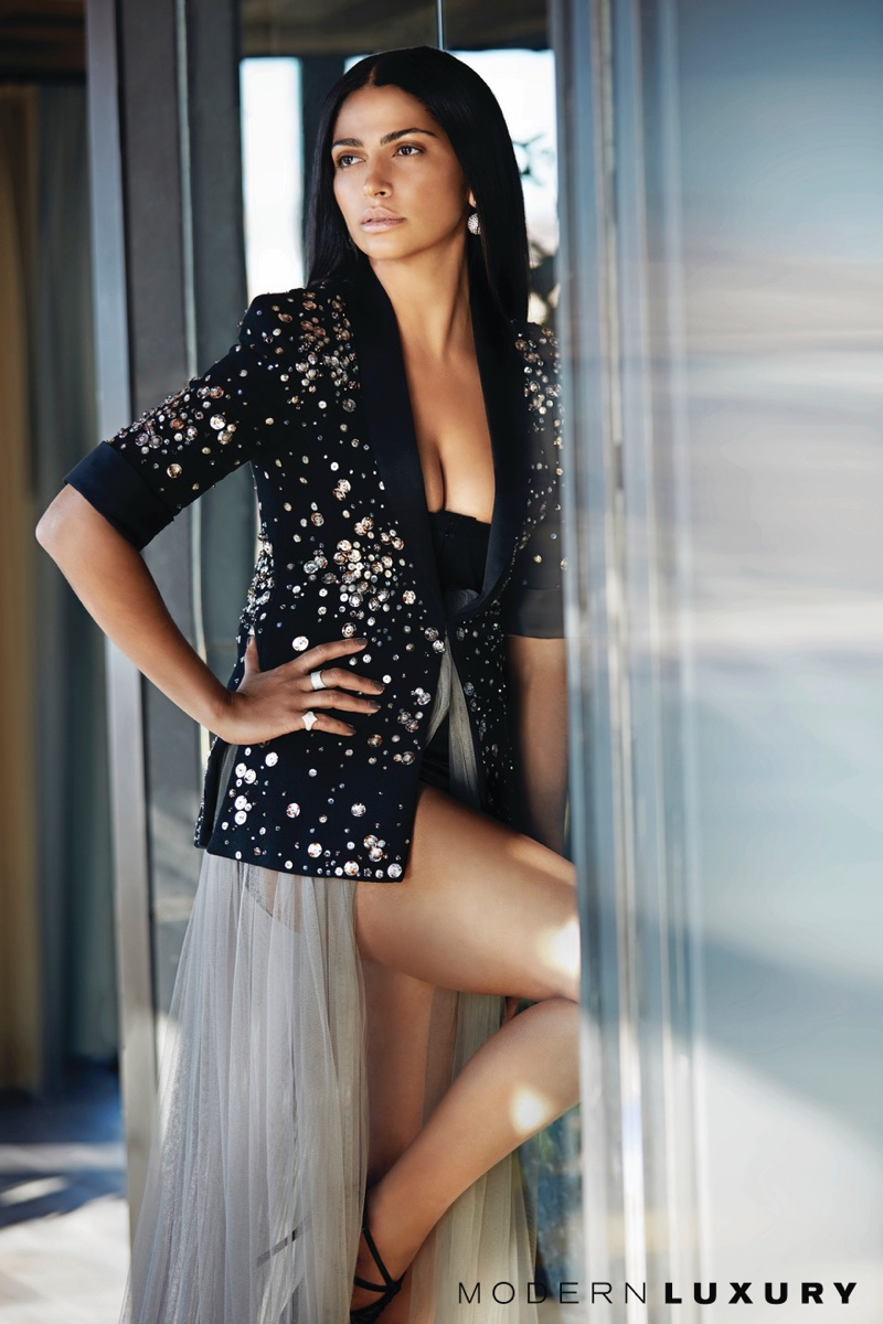 Camila Alves wears Chanel jacket, Vera Wang gown and Oscar de la Renta earrings