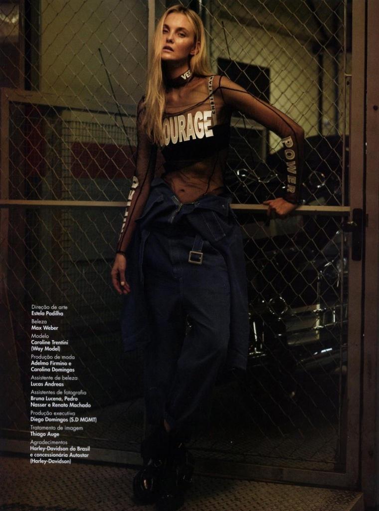Caroline Trentini Poses in Moto Glam Looks for L'Officiel Brazil