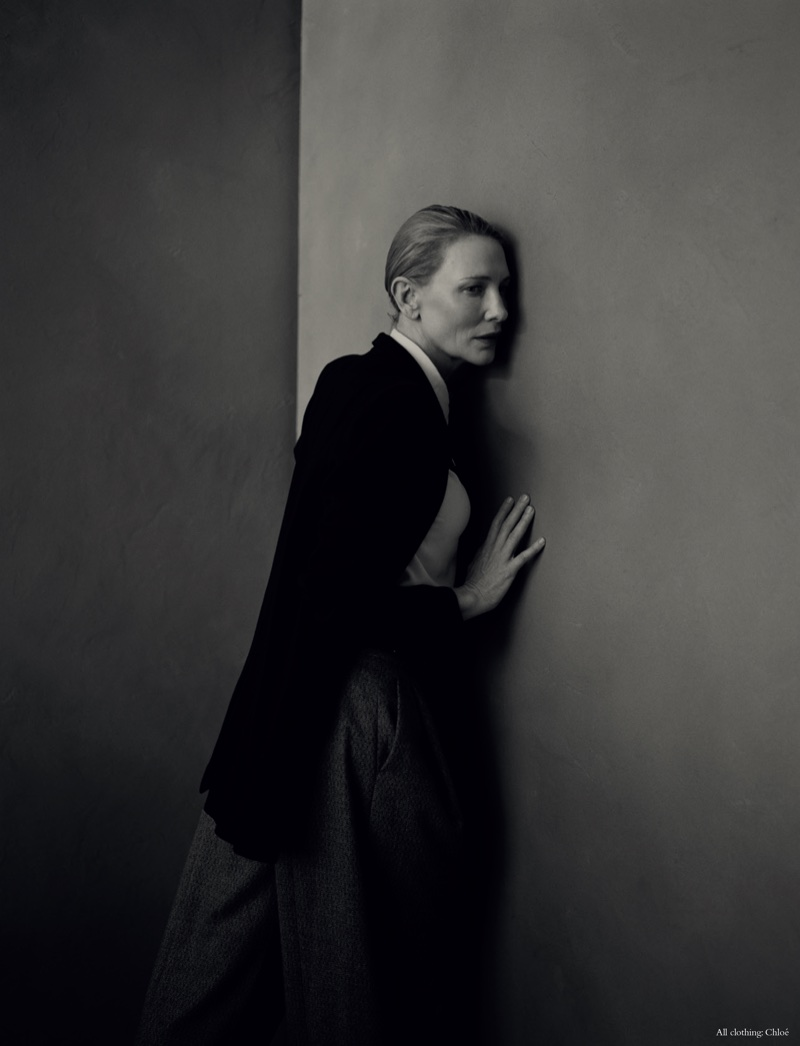 Cate Blanchett wears a complete look from Chloe