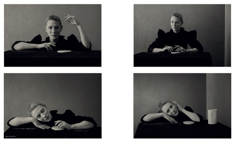 Cate Blanchett poses in ruffled Nina Ricci dress