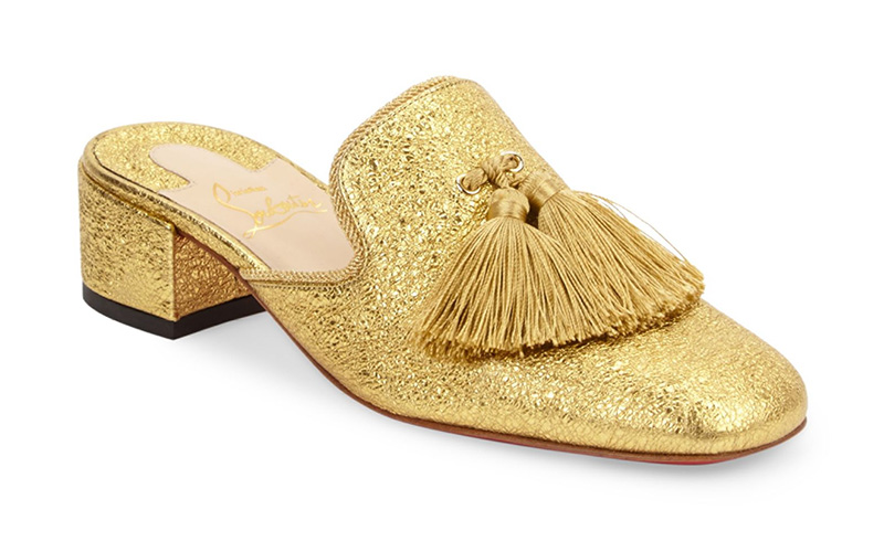 Christian Louboutin Barry Metallic Leather Mules $1,095