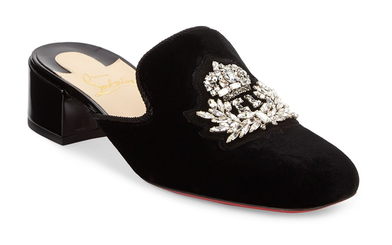 Christian Louboutin Evening Sun 35 Embroidered Velvet Mules $1,095