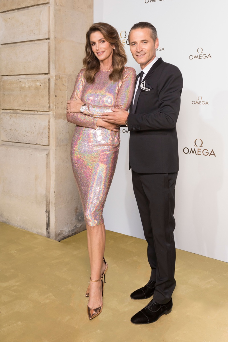 Cindy Crawford and Raynald Aeschlimann at OMEGA Her Time exhibition