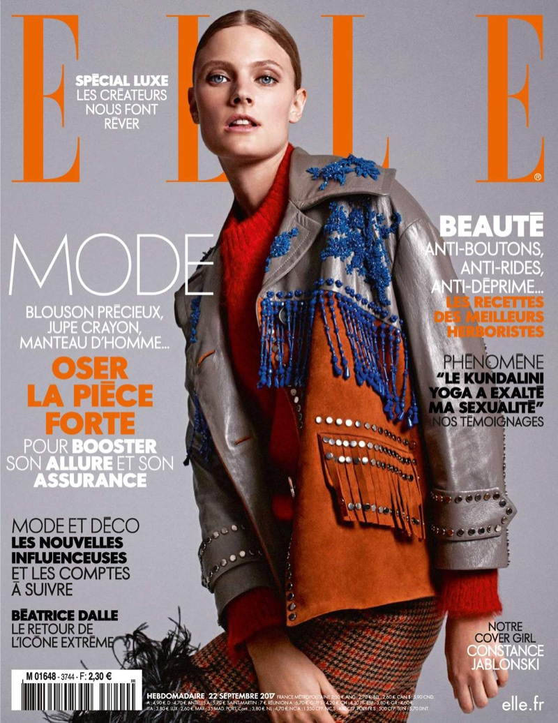 Constance Jablonski Poses in Chic Autumn Styles for ELLE France