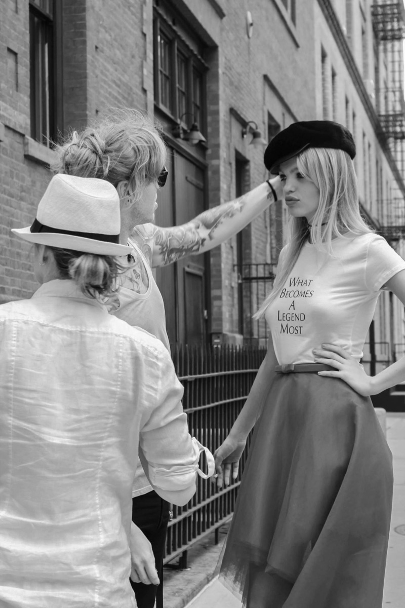 Model Daphne Groeneveld behind-the-scenes at Blackglama's fall-winter 2017 campaign