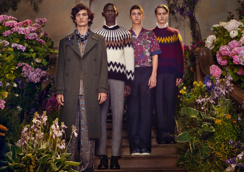 An image from ERDEM x H&M's advertising campaign featuring menswear