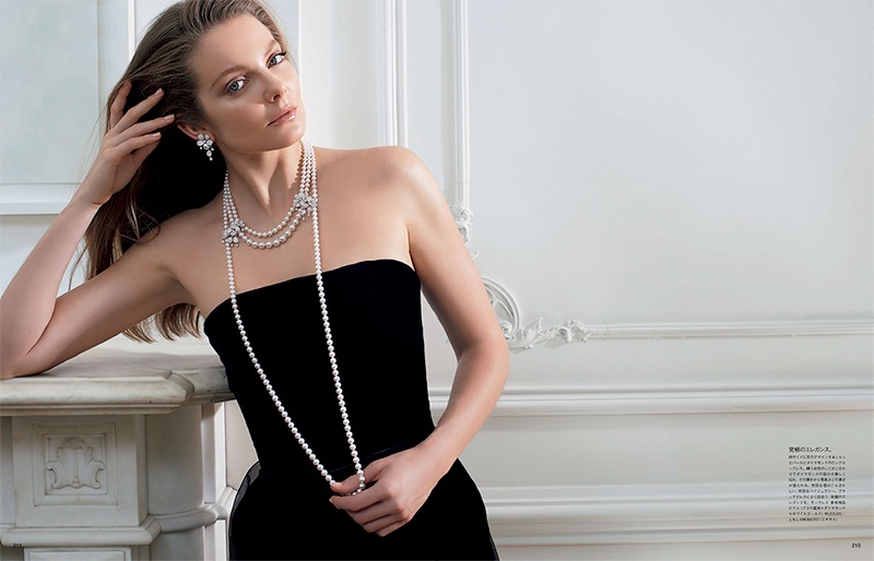 Eniko Mihalik Charms in Mikimoto Pearls for Vogue Japan