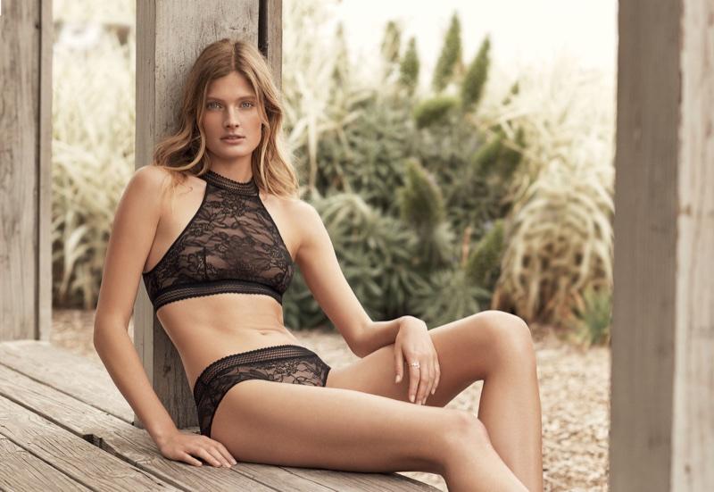 Constance Jablonski poses in lace lingerie for Etam's fall-winter 2017 campaign