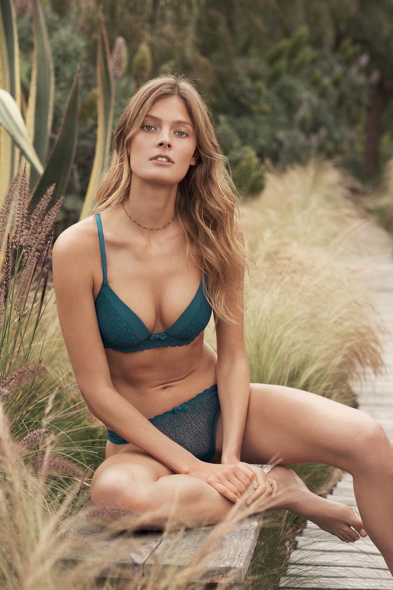 Constance Jablonski poses in lace lingerie for Etam's fall-winter 2017 campaign