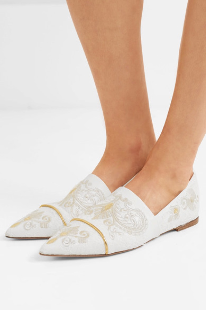 Etro Lace-Paneled Embroidered Leather Point-Toe Flats $1,190