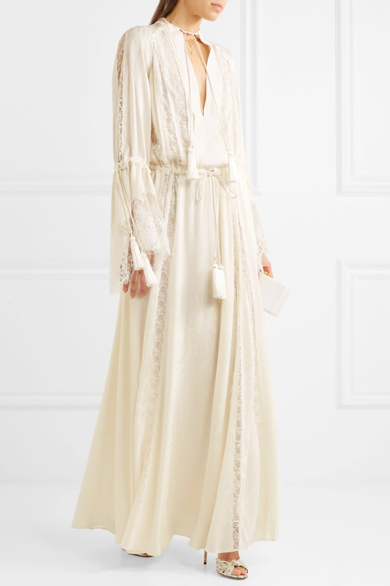 Etro Lace-Paneled Silk-Jacquard Gown $7,490