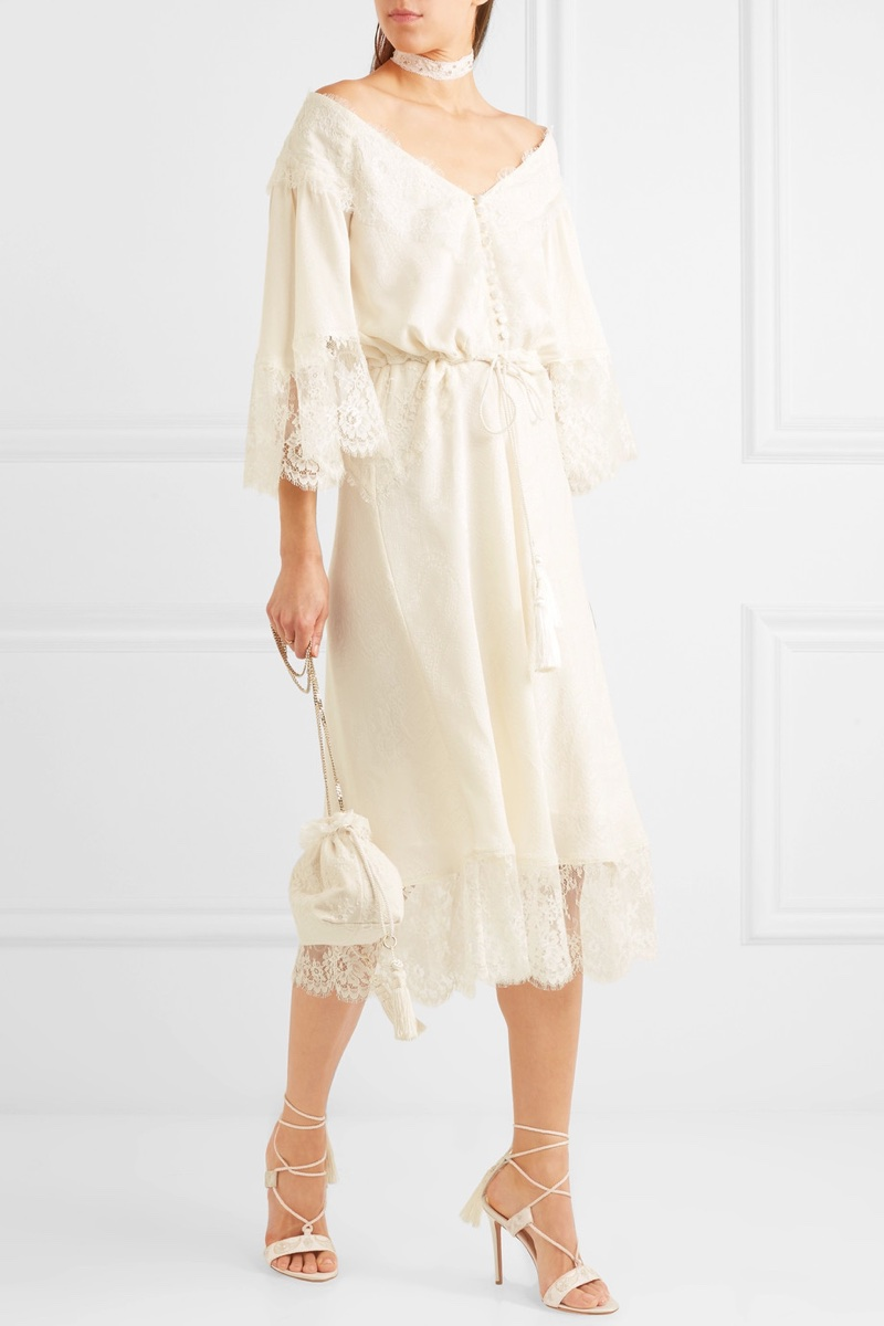 Etro Lace-Paneled Silk-Jacquard Midi Dress $4,820