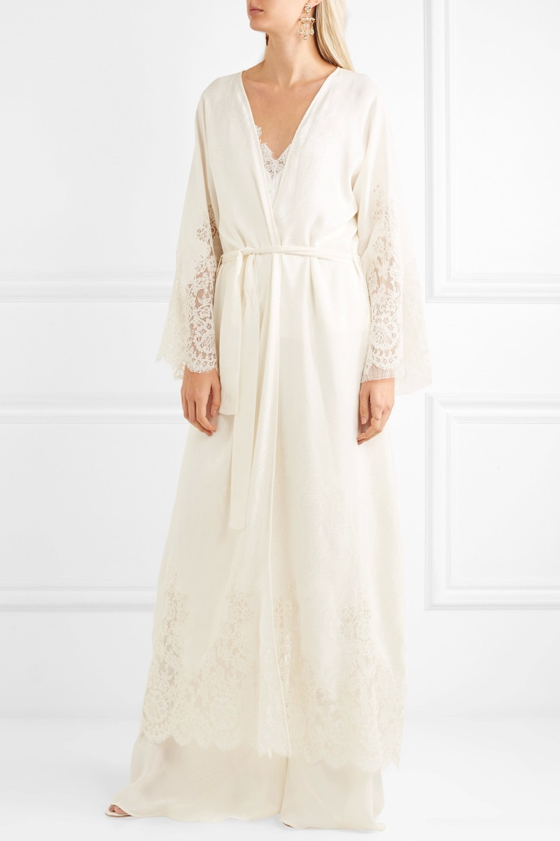 Etro Lace-Paneled Silk-Jacquard Robe $9,740