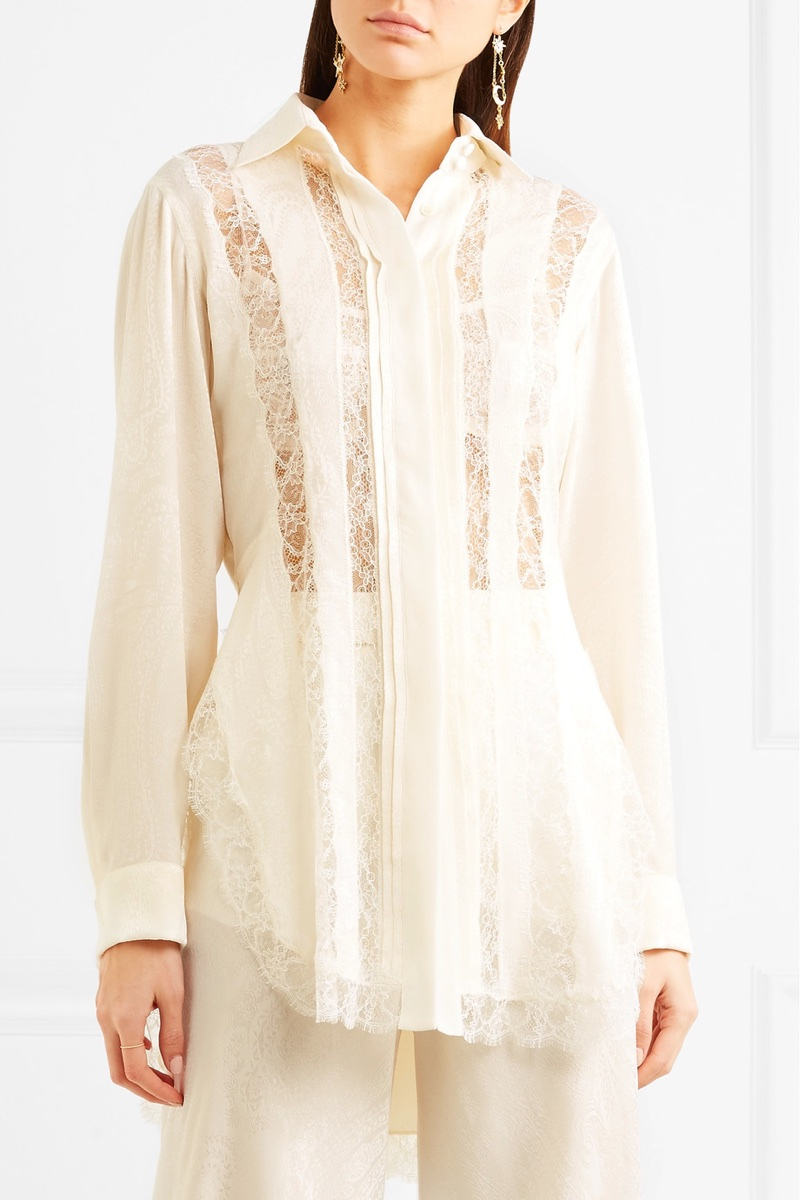 Etro Lace-Paneled Silk-Jacquard Shirt $2,420