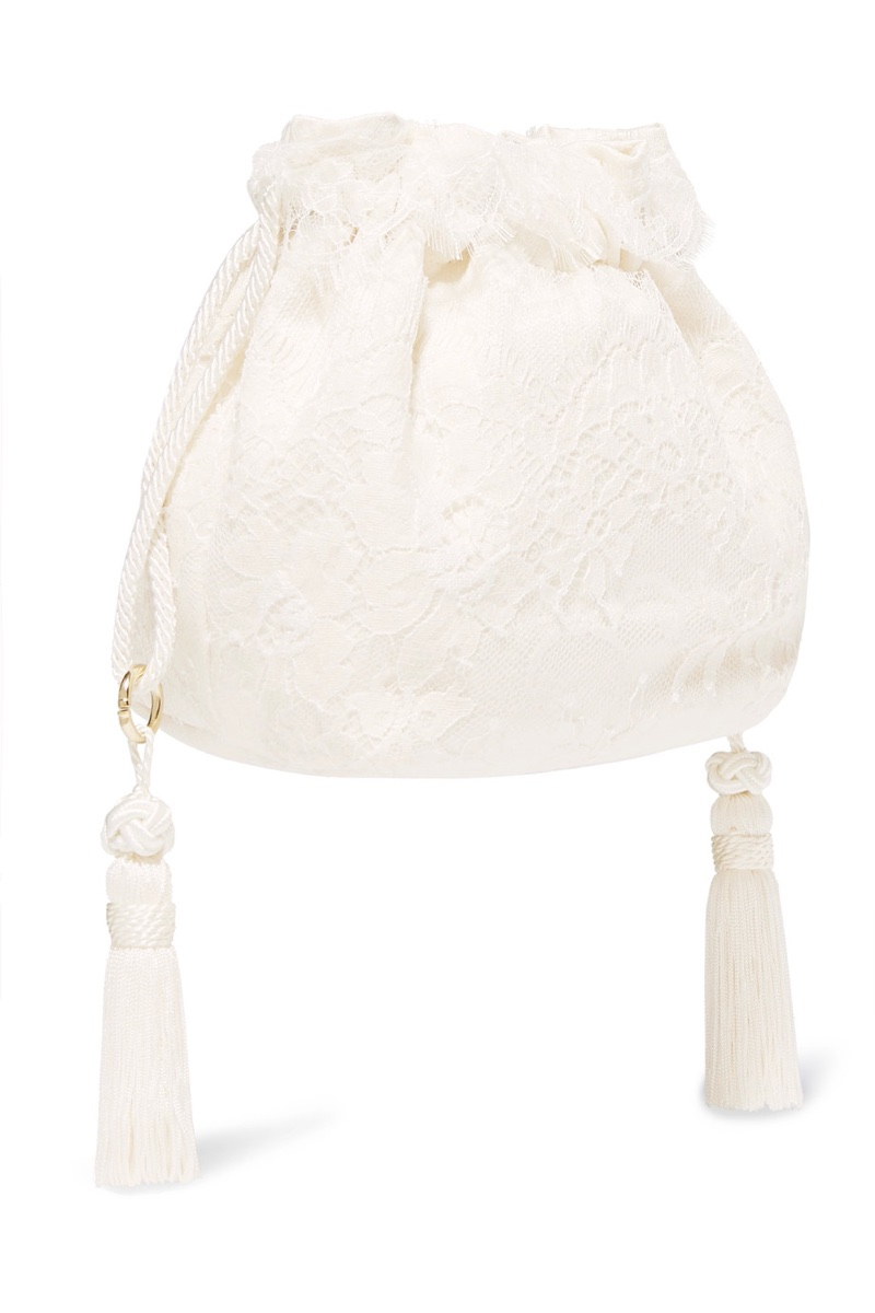 Etro Tasseled Lace Silk-Jacquard Bucket Bag $860