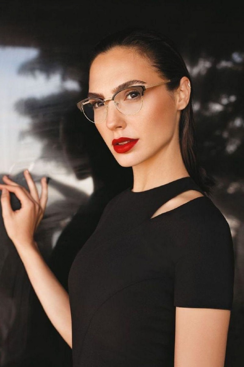 Actress Gal Gadot looks sharp in cat eye glasses