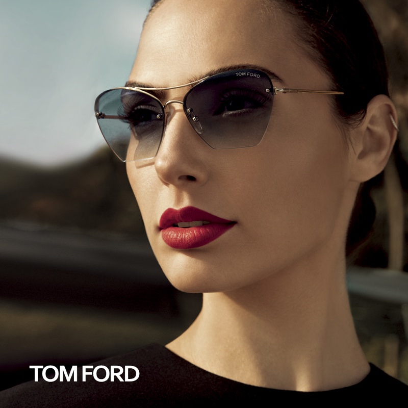 Getting her closeup, Gal Gadot models Tom Ford sunglasses