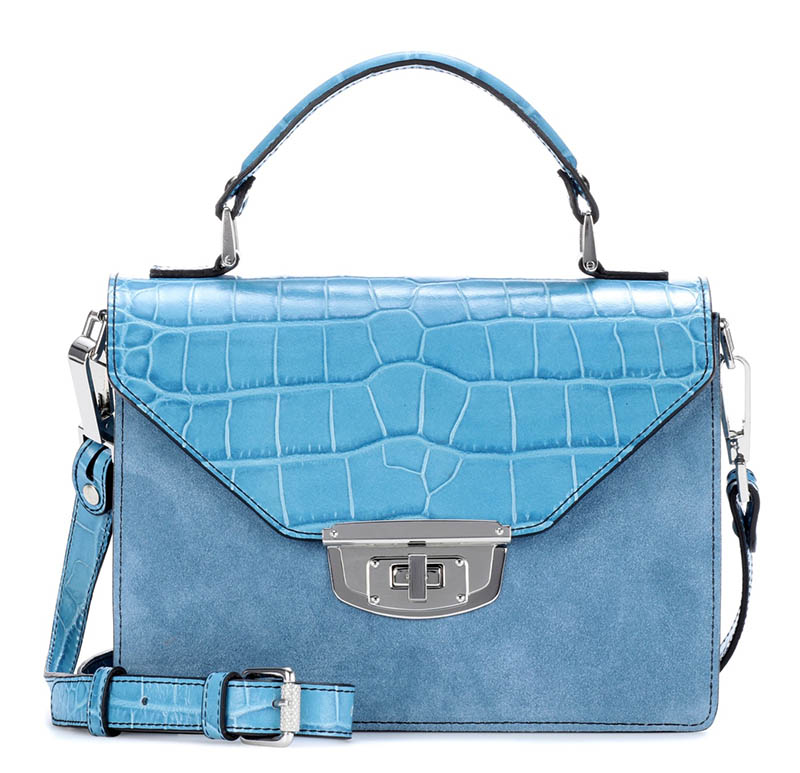 Ganni Gallery Embossed Leather Suede Shoulder Bag $475