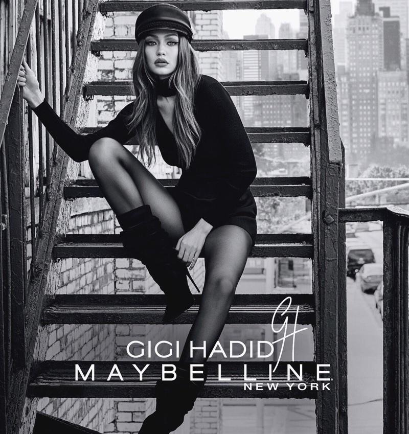 Gigi Hadid for GigixMaybelline East Coast Glam makeup look