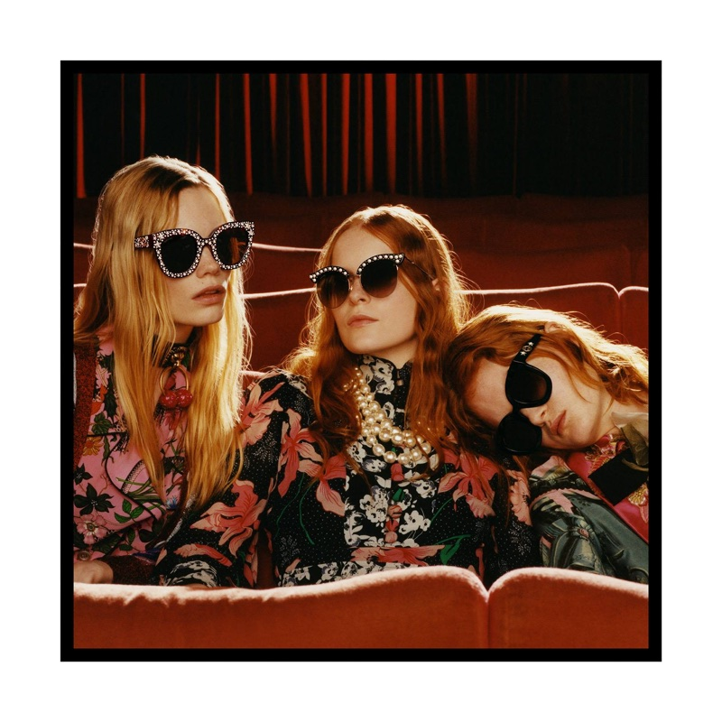 Models pose at the movies for Gucci Eyewear's fall-winter 2017 campaign